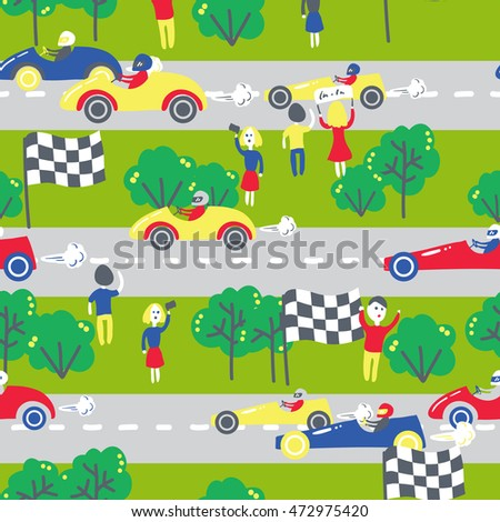 Seamless patter with racing cars. Can be used for textile, kids clothes, wallpaper, wrapping paper, etc. Vector illustration