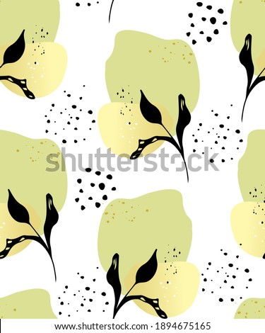 Seamless pattern abstract collage wall art poster. Modern Art. Plant branch with leaves abstract elements, paper cut shapes. Illustration for printing onto fabric, covers, wallpaper, paper. Photo stock ©