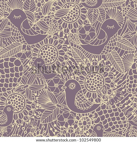 seamless pattern - abstract flowers and birds