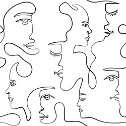 Seamless pattern abstract modern minimalistic portraits in doodle. Contemporary faces in one line drawn. Continuous print for fabric, bedding, clothing, cover. Vector illustration
