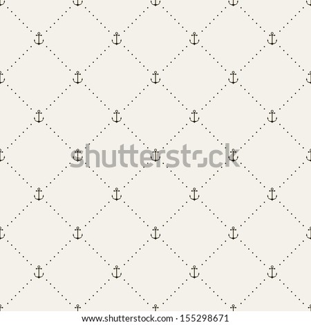 Seamless pattern. Abstract texture with anchors. Vector stylish monochrome print