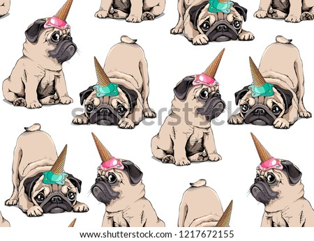 Seamless pattern. Adorable beige puppies Pugs in a ice cream party cap on a white background. Textile composition, hand drawn style print. Vector illustration.