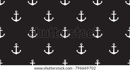 Seamless Pattern Anchor vector maritime Nautical sea ocean boat isolated wallpaper background black