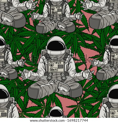 Seamless pattern Astronaut meditation with cannabis background pink Foto stock ©