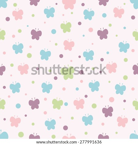 Seamless pattern. Baby background with silhouettes butterfly and circles. Paper for scrapbook or background. Vector illustration.The rose background is removed