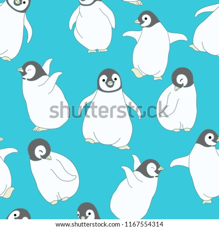 seamless pattern baby penguin