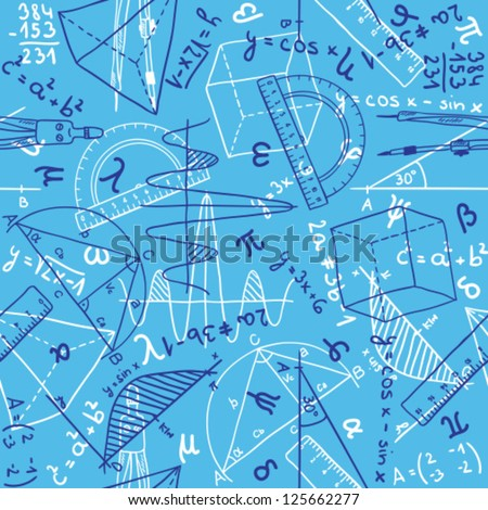 Seamless pattern background illustration of mathematics drawings doodle style