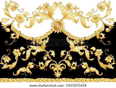 Seamless pattern, background Inbaroque, rococo, victorian, renaissance style. Trendy frolar vintage pattern.  Vector illustration in gold, black and white colors.
