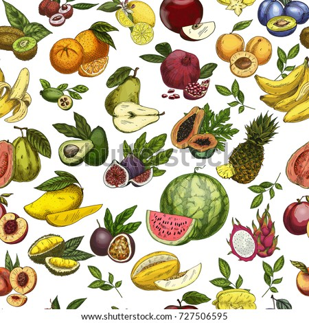 Seamless pattern background of sketched fruits. Vegetarian watermelon and vegan pear, agriculture melon and tropical pineapple, exotic durian and tasty banana, sliced kiwi. Nutrition theme