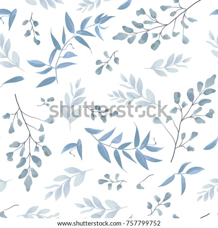 Seamless pattern, background, texture print with light watercolor hand drawn blue color dusty leaves, fern greenery forest herbs, plants. Tender, elegant textile fabric, wrapping paper backdrop layout