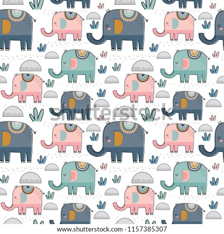 Seamless pattern background with cute elephants with soft colour. great for wrapping, wallpaper, decorative paper vector illustration!