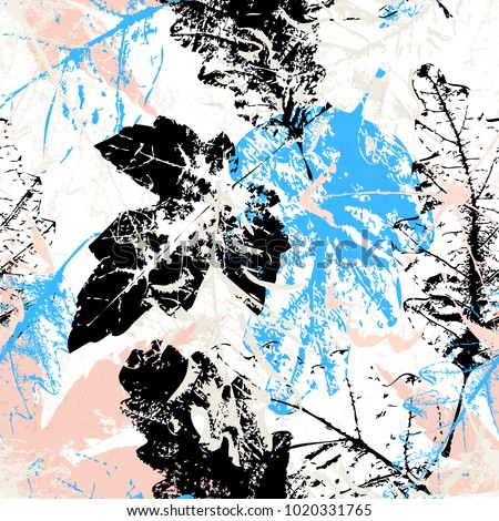 seamless pattern background, with leaves, strokes and splashes