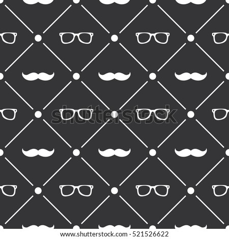 Seamless pattern background with moustache and glasses Foto d'archivio ©