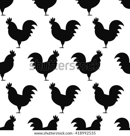 Seamless pattern background with roosters. Symbol of 2017 year. Black and white rooster texture. Rooster silhouette icon.