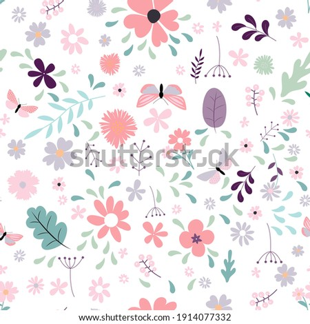 Seamless Pattern Background with Simple Flower Design Elements. Vector Illustration
