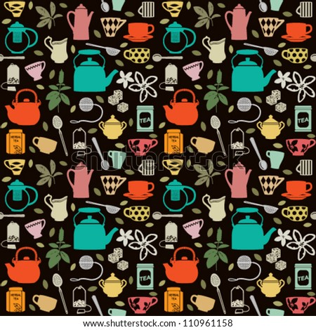 Seamless pattern background with tea related symbols 2