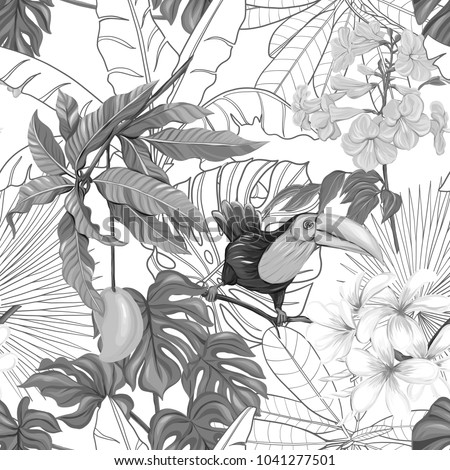 Seamless pattern, background with toucan and tropical plants on white background. Hand drawn monochrome vector illustration without transparent and gradients.