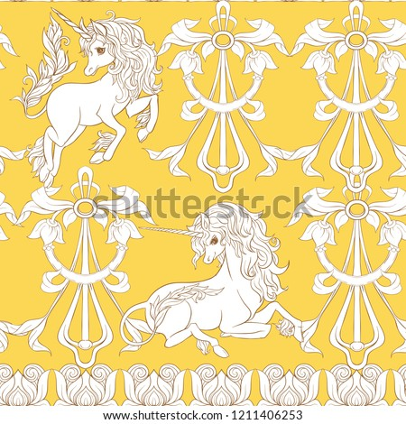 Seamless pattern, background with unicorn and vintage, fantsatic flowers In art nouveau style, vintage, old, retro style. Vector illustration. In vintage yellow and beige colors.