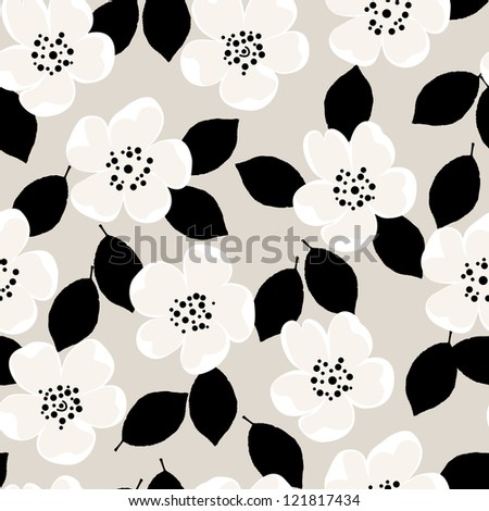seamless pattern background, with wild roses and leaves