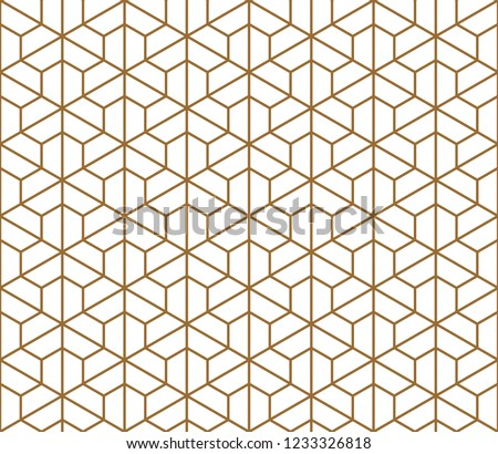 Seamless pattern based on Kumiko ornament .Silhouette with average thickness lines.Suitable for laser cutting and design.