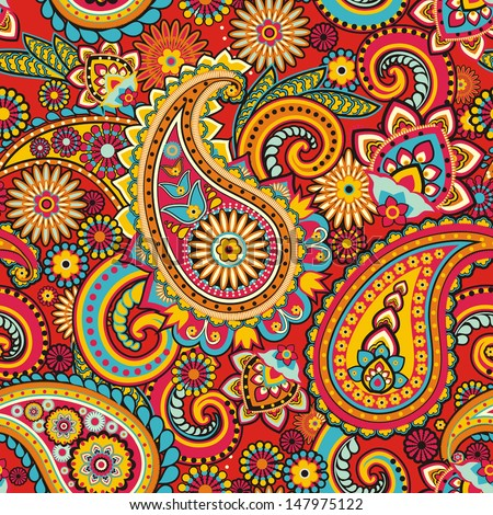 Seamless pattern based on traditional Asian elements Paisley