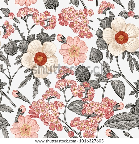Seamless pattern. Beautiful fabric blooming realistic isolated flowers. Vintage background. Prímula hibiscus heliotrope wildflowers. Wallpaper baroque. Drawing engraving. Vector victorian Illustration