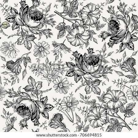 Rose flower vector background black and white download free vector beautiful fabric blooming realistic isolated flowers vintage background set chamomile rose peony flower black and white mightylinksfo