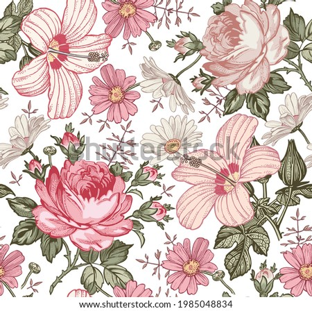 Seamless pattern. Beautiful pink blooming realistic isolated flowers. Vintage background. Set Chamomile Roses hibiscus mallow wildflowers. Wallpaper. Drawing engraving. Vector victorian Illustration.