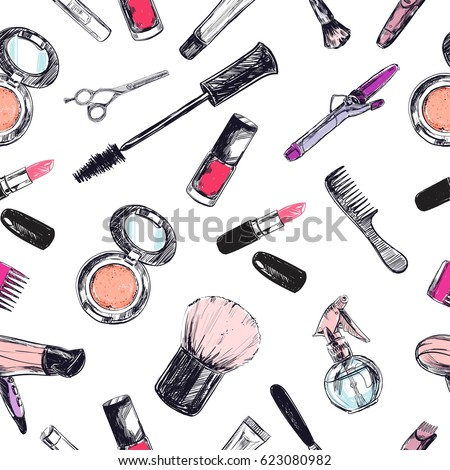 Seamless pattern. Beauty and cosmetic store