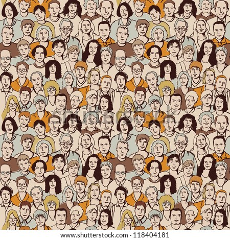 Seamless pattern big group unrecognizable people Color vector illustration with big crowd of people. Seamless pattern allow to make this group more and more.