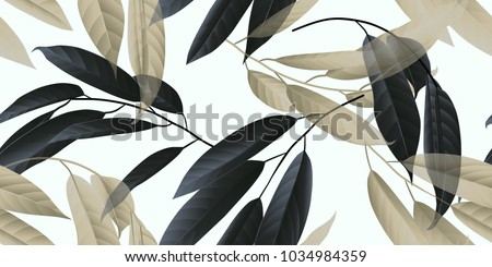 Seamless pattern, black and golden long leaves on light grey background