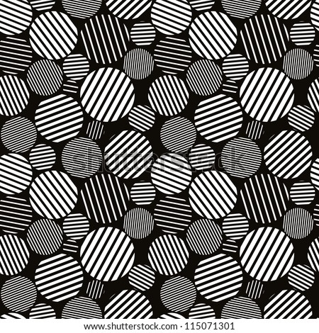 Seamless pattern black and white abstract lines and circles, vector texture background.