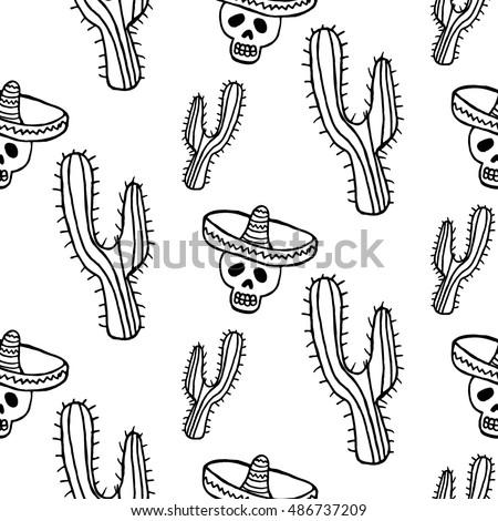 seamless pattern black cactus