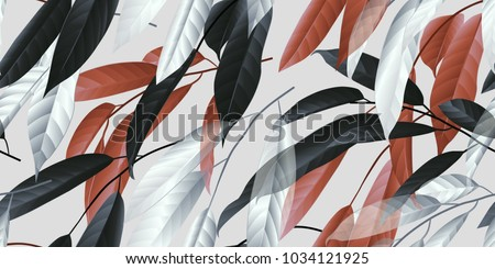 Seamless pattern, black, red and white long leaves on light grey background