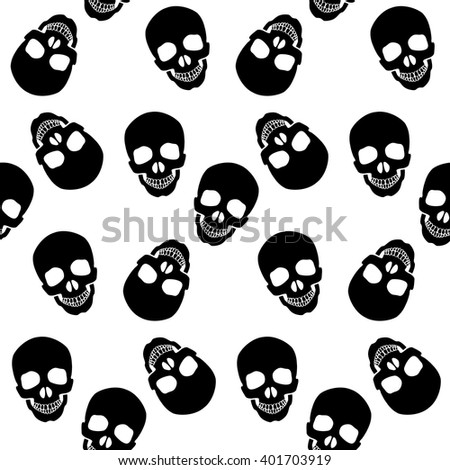 seamless pattern black skulls
