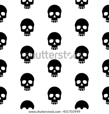 seamless pattern black skulls