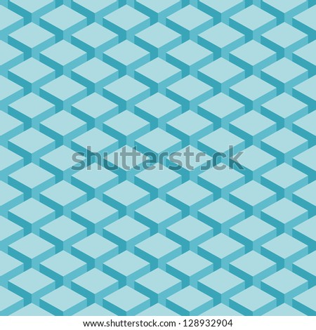 Seamless pattern blue background. Surface with 3-D effect cubes in perspective. Old retro wallpaper with repetition geometric shape. Vector illustration clip-art web design elements in 8 eps