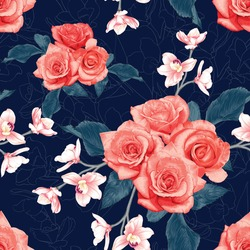 Seamless pattern botanical pink rose and pink Orchid flowers on abstract dark blue background.Vector illustration drawing watercolor style.For used wallpaper design,textile fabric or wrapping paper.