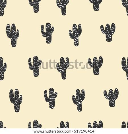 Seamless Pattern Cactus Art Background Fabric Texture Decor Wallpaper
