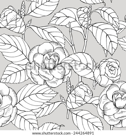 Seamless Pattern Camelia Black & White Contour