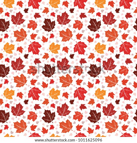 Seamless Pattern Canada Colorful Maple Leaf Nature