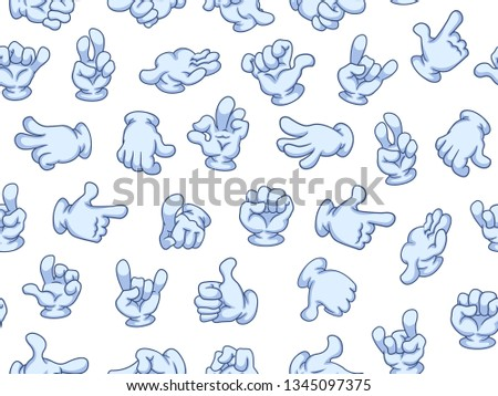 Seamless pattern cartoon hands with gloves. Vector illustration. Different gestures: pointing, attention, fist, thumbs up, like, dislike, ok.  #1345097375