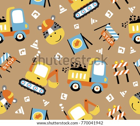 seamless pattern cartoon of construction vehicles, construction signs  with a zebra the funny worker