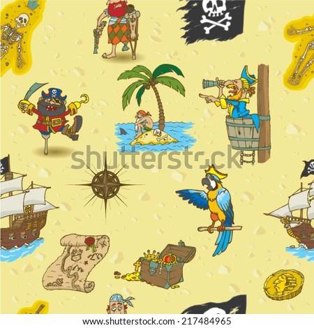 seamless pattern cartoon pirates