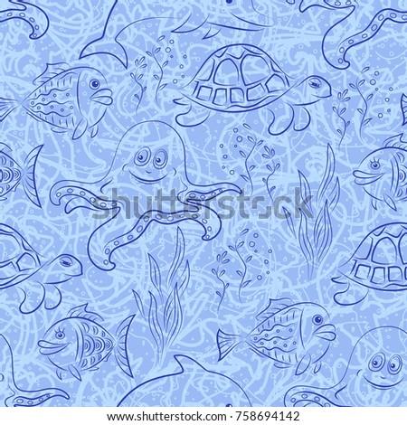 seamless pattern  cartoon sea
