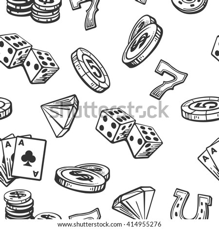 seamless pattern casino set...