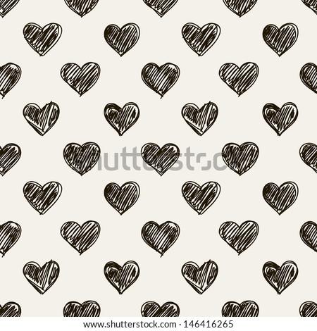 Seamless pattern. Casual polka dot texture. Stylish print with hand drawn hearts