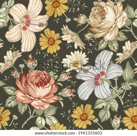 Seamless pattern Chamomile Roses hibiscus mallow wildflowers Beautiful fabric blooming realistic isolated flowers. Vintage background tapestry Wallpaper Drawing engraving Vector victorian Illustration