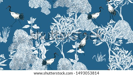 Seamless Pattern Chinoiserie Chic Blue and White Oriental Chinese Design  Tropical Floral Trees and Exotic Birds Cranes in Oleander Flowers Outline Drawing Foto d'archivio ©