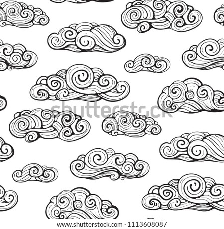 Seamless Pattern Clouds Line Art Background. Outline intricate clouds seamless pattern. Vector background.